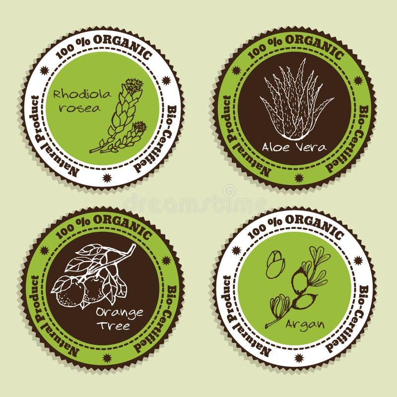Set Naturalne Organicznie produkt odznaki royalty ilustracja