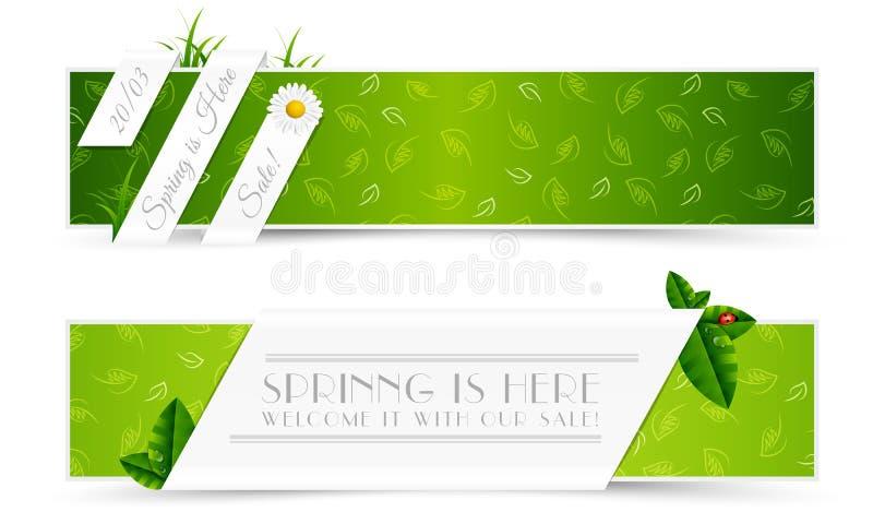 Set wiosna sztandary ilustracja wektor