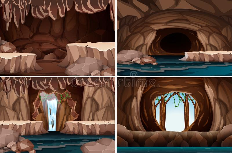 A set of nature cave. Illustration royalty free illustration