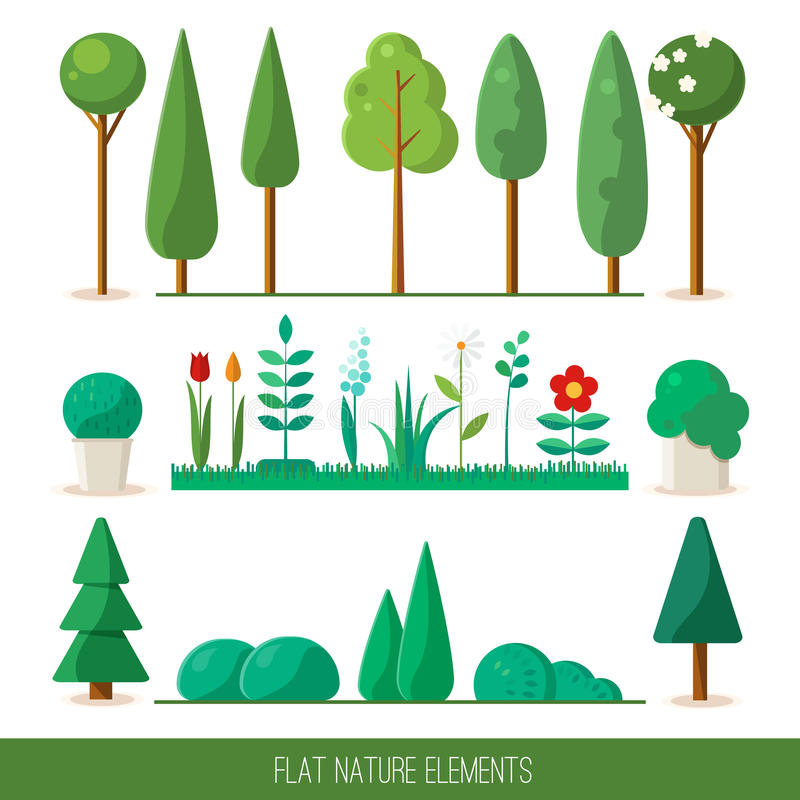 Set of nature elements: trees, spruce, bushes, flowers, grass. stock image