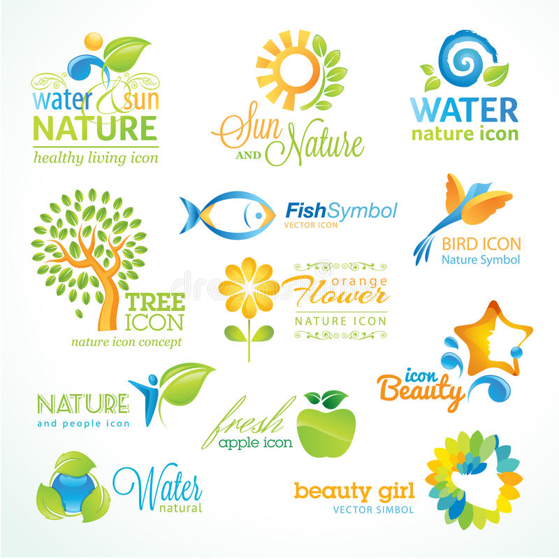 Download Set Of  Nature Icons Royalty Free Stock Photos - Image: 28264718