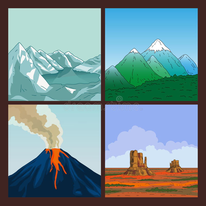 Set of nature landscape. Collection of mountains. Crater mountain volcano hot natural eruption. Prairie landscape. Set of nature landscape. Mountains landscape royalty free illustration