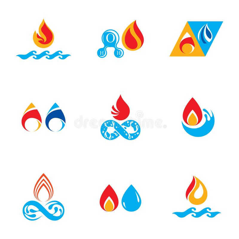 Set of nature power symbols, composition of water and fire elements. stock illustration