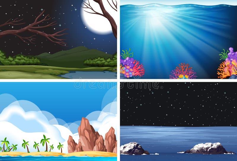 Set of nature scene stock illustration
