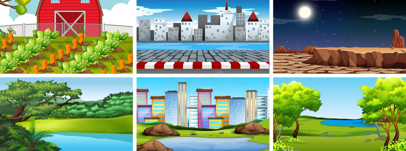 Set of nature scenes including farming, urban, city and deserts. Illustration royalty free illustration