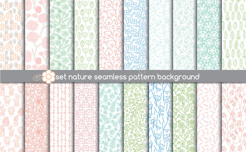 Set nature seamless patterns.pattern swatches included for illustrator user, vector illustration