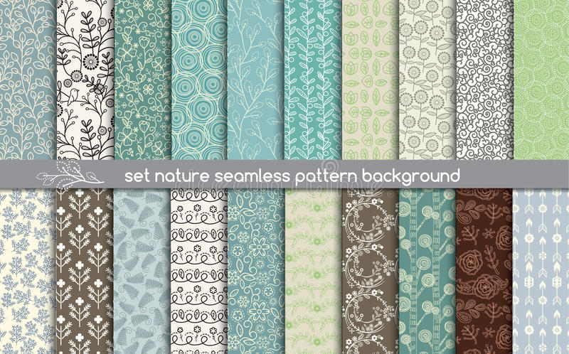 Set nature seamless patterns. pattern swatches included for illustrator user vector illustration