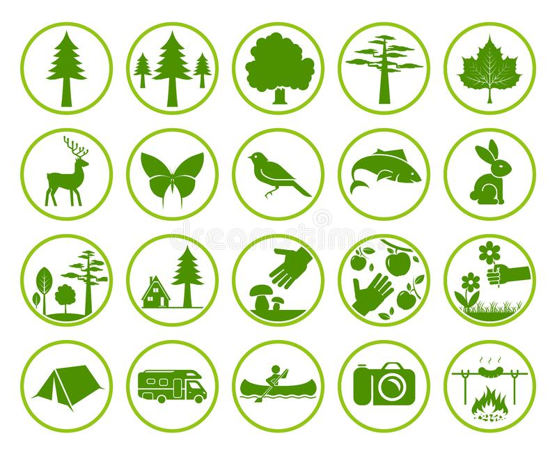 Set of nature signs royalty free illustration