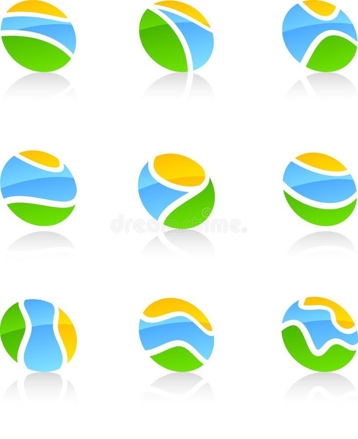 Download Set of nature symbols. stock vector. Image of green, grey - 10593226