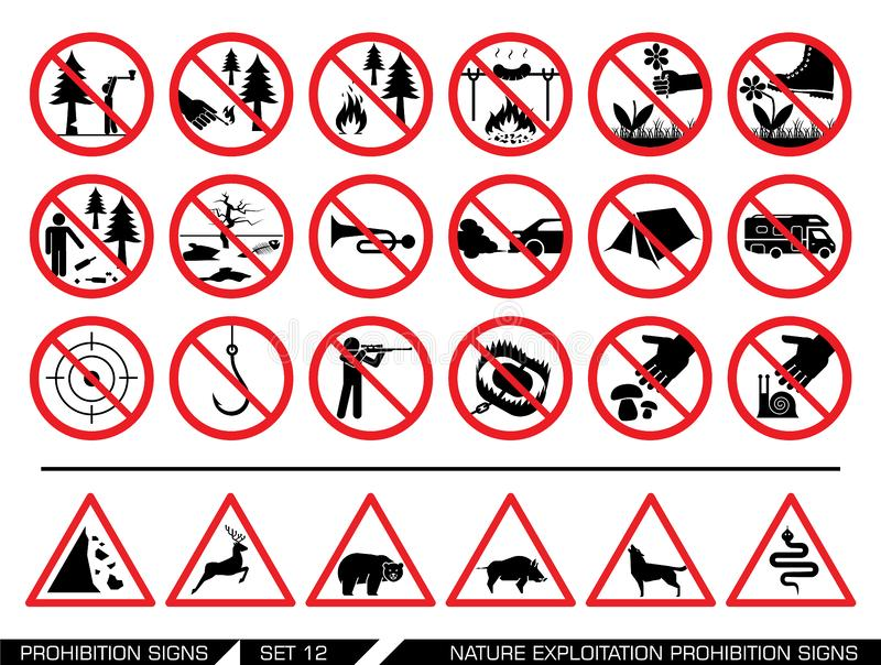 Set natury prohibici eksploatacyjni znaki ilustracji