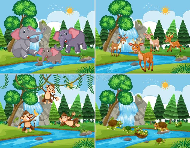 Set natury scena z zwierzętami ilustracji