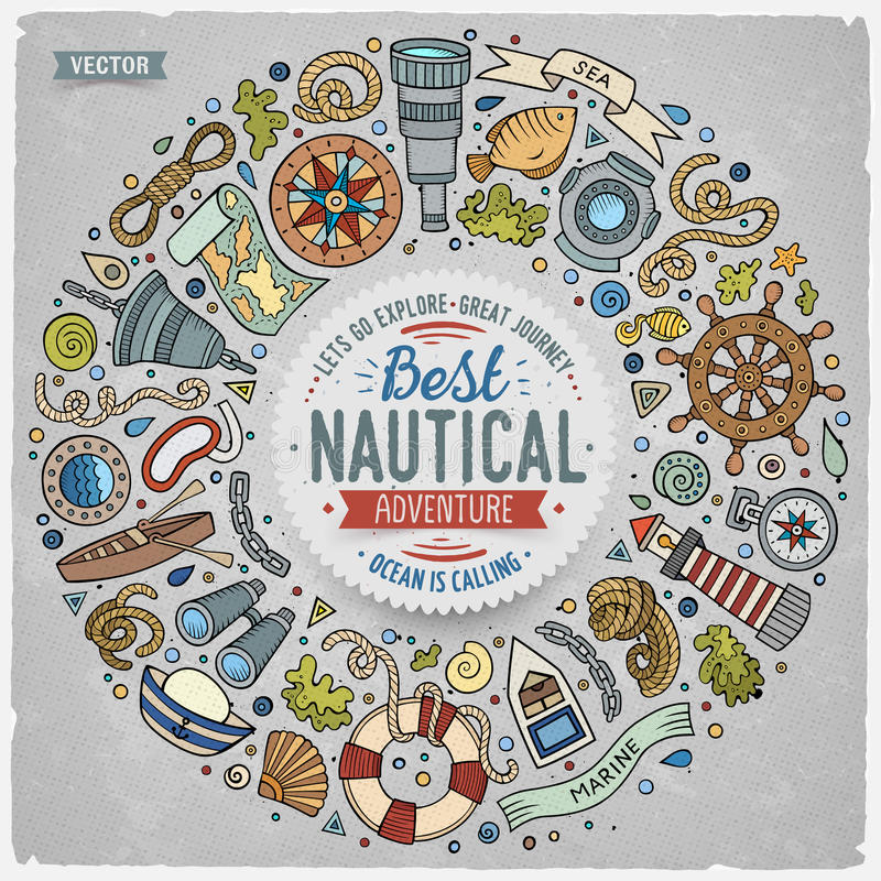 Set of Nautical cartoon doodle objects, symbols and items. Colorful vector hand drawn set of Nautical cartoon doodle objects, symbols and items. Round frame vector illustration