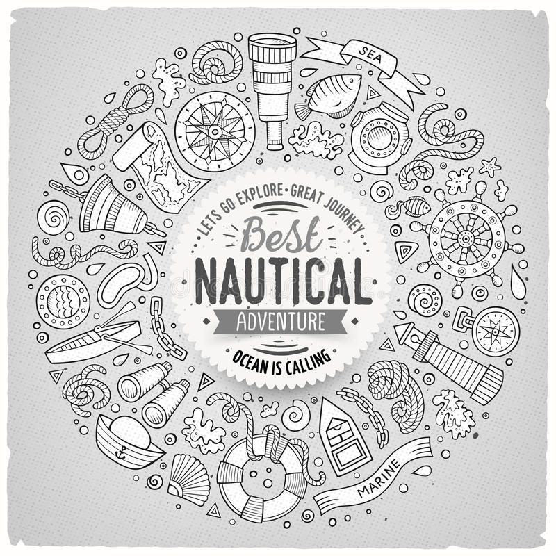 Set of Nautical cartoon doodle objects, symbols and items. Line art vector hand drawn set of Nautical cartoon doodle objects, symbols and items. Round frame vector illustration