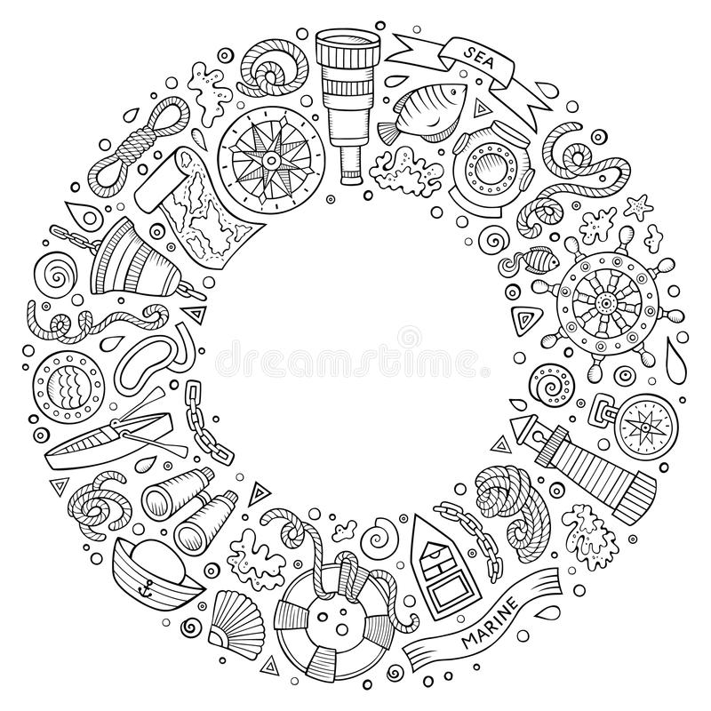 Set of Nautical cartoon doodle objects, symbols and items. Line art vector hand drawn set of Nautical cartoon doodle objects, symbols and items. Round frame stock illustration
