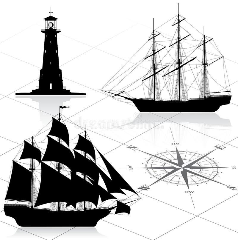 Set of nautical design elements vector illustration