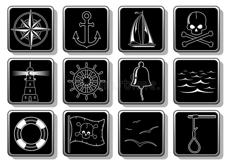 Download Set of Nautical Icons stock vector. Illustration of pirate - 11093981