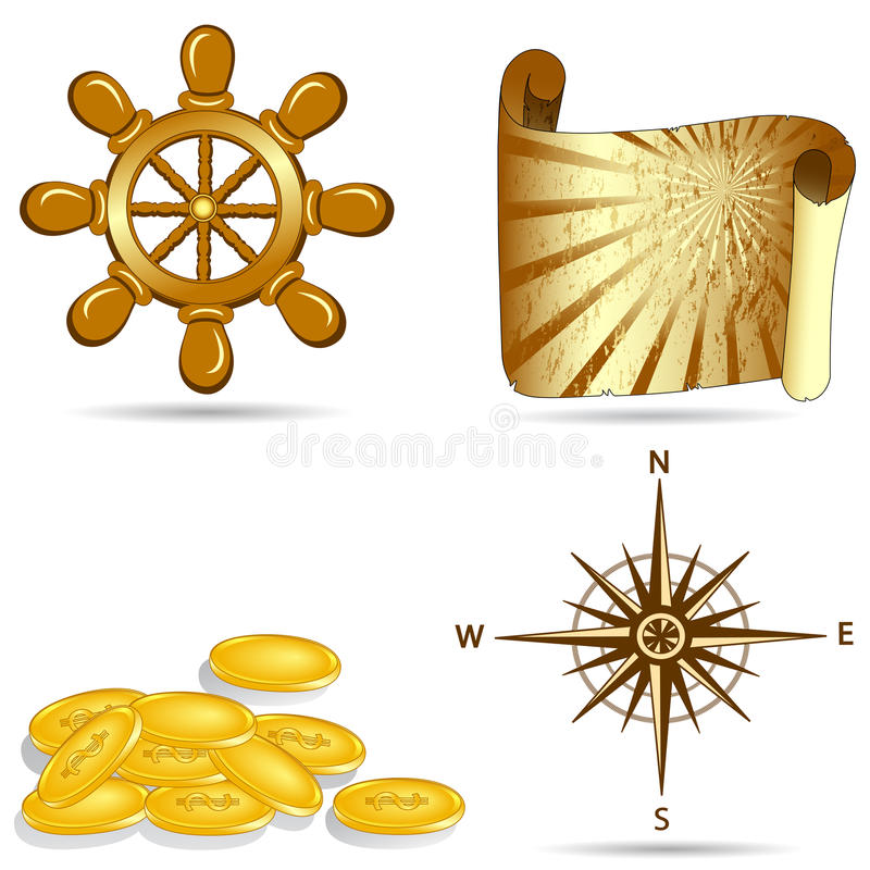 Download Set of  the nautical icons stock vector. Illustration of compass - 12778577