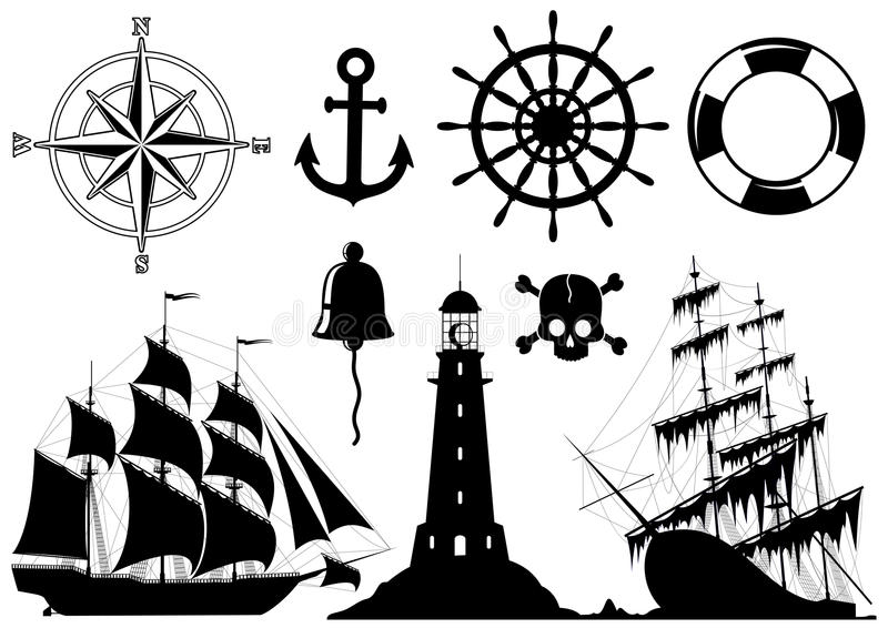 Set of Nautical Icons stock illustration