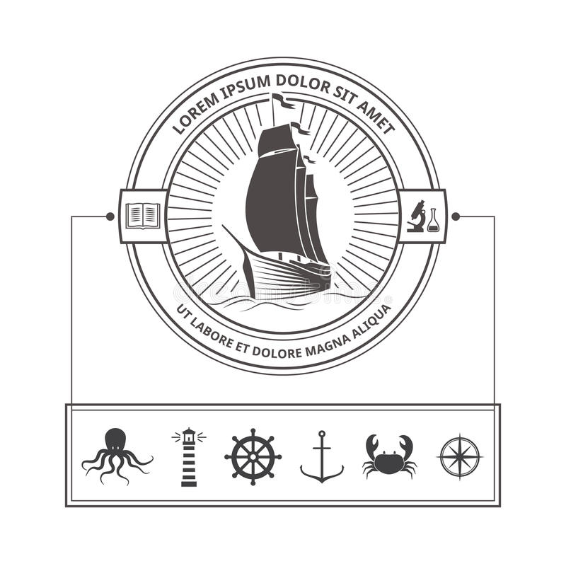 Set of Nautical Icons for Badges in Vintage Style royalty free illustration