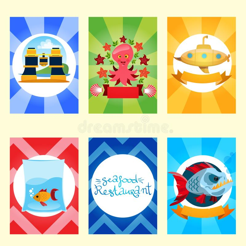 Set of nautical and marine banners and flyers. Card templates in green, navy blue, red and yellow colors with place for text. vector illustration