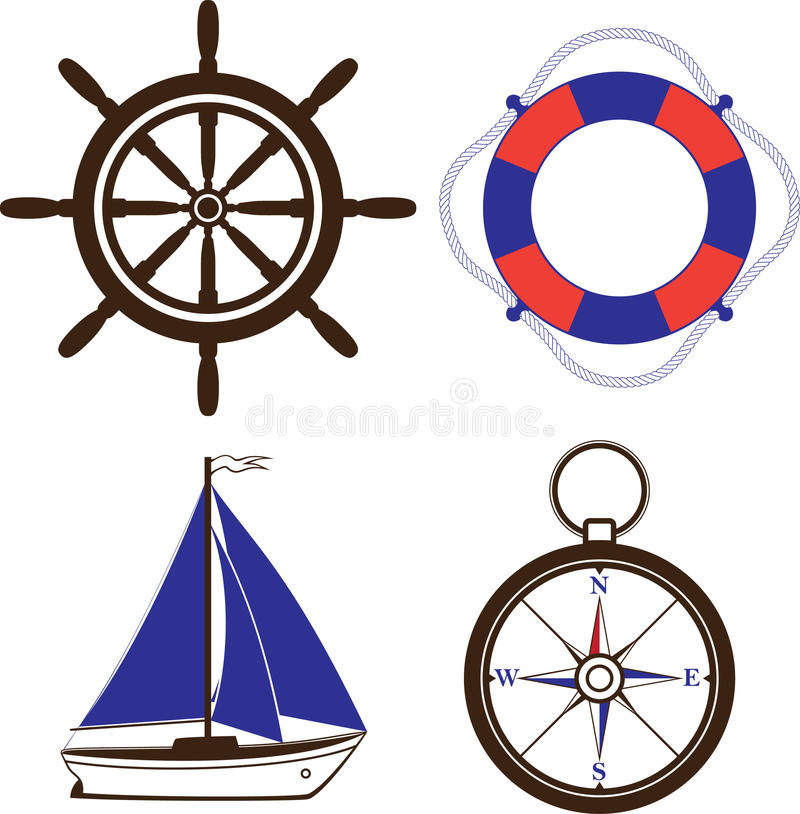 Set of nautical and marine symbols. Compass, sailing boat, steering wheel, life buoy. Vector illustration. Layers are managed and arranged for easy editing royalty free illustration