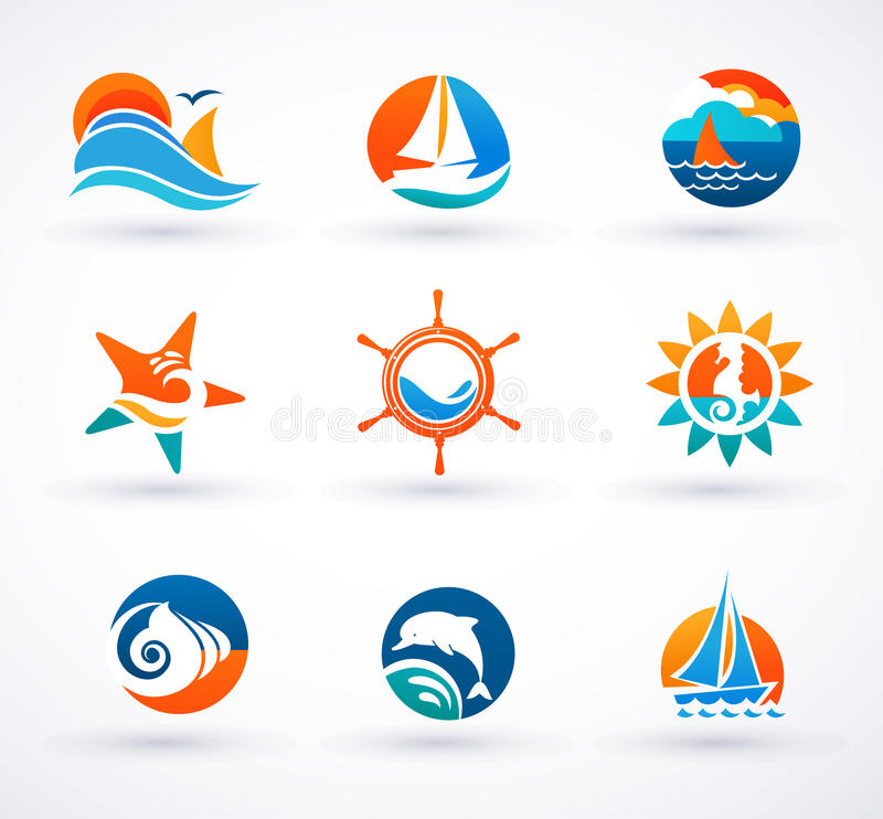 Download Set Of Nautical, Sea Icons And Symbols Stock Vector - Image: 33524767