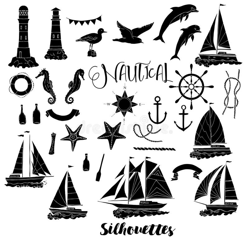 Set with nautical silhouettes. Ships and wheel, seahorse, sailing boats, dolphin and sea knots. Hand drawn articles for summer holidays.Travel, marin and ocean vector illustration