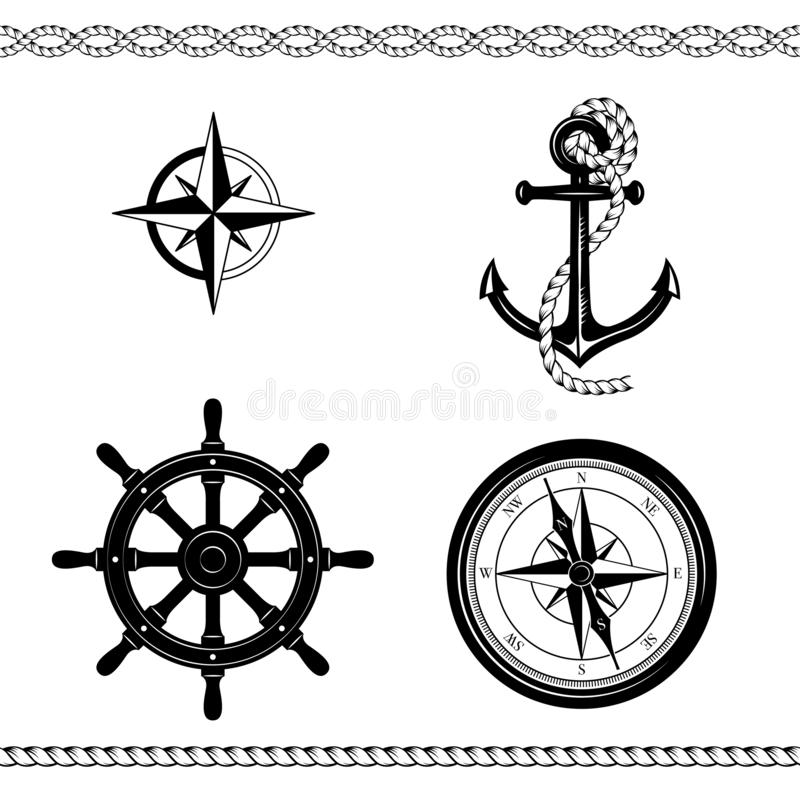 Set of nautical symbols. Anchor, ropes, compass, Rose of Wind, ship steering wheel, borders. Black and white colors stock illustration
