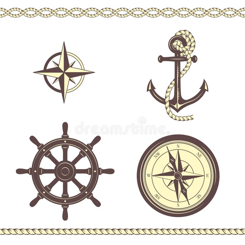 Set of nautical symbols. Anchor, ropes, compass, Rose of Wind, ship steering wheel, borders. Yellow and brown colors stock illustration