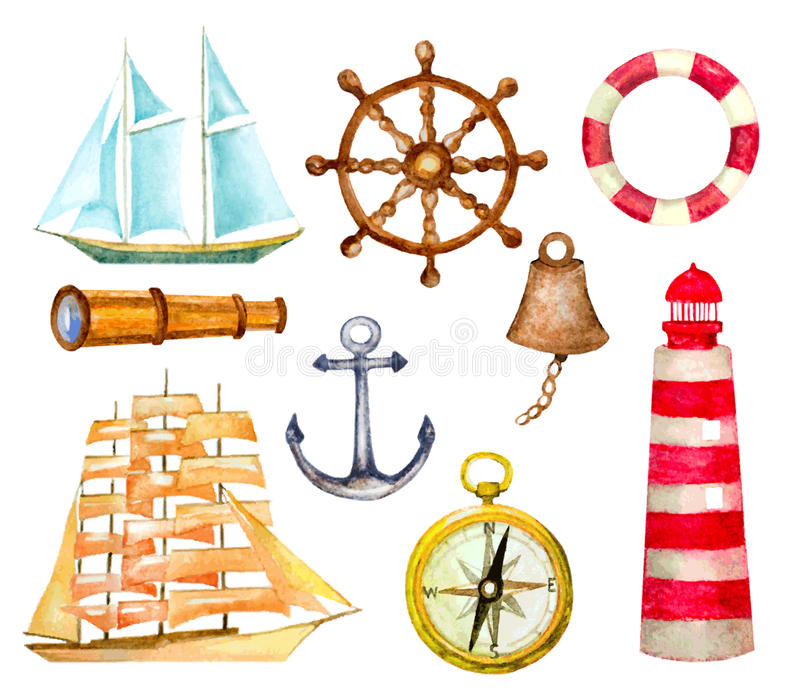 Set of nautical symbols. watercolor hand drawn vector. Illustration. lighthouse, compass, sailboats, anchor, telescope, helm and life buoy vector illustration