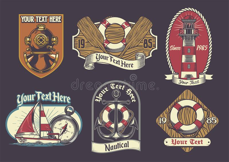 Set nautyczna odznaka royalty ilustracja