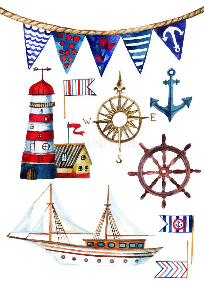 Set nautyczne akwareli ilustracje ilustracji