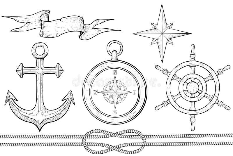 Set nautyczni elementy Kierownica, kompas, kotwica, arkana Ręka rysujący nakreślenie royalty ilustracja