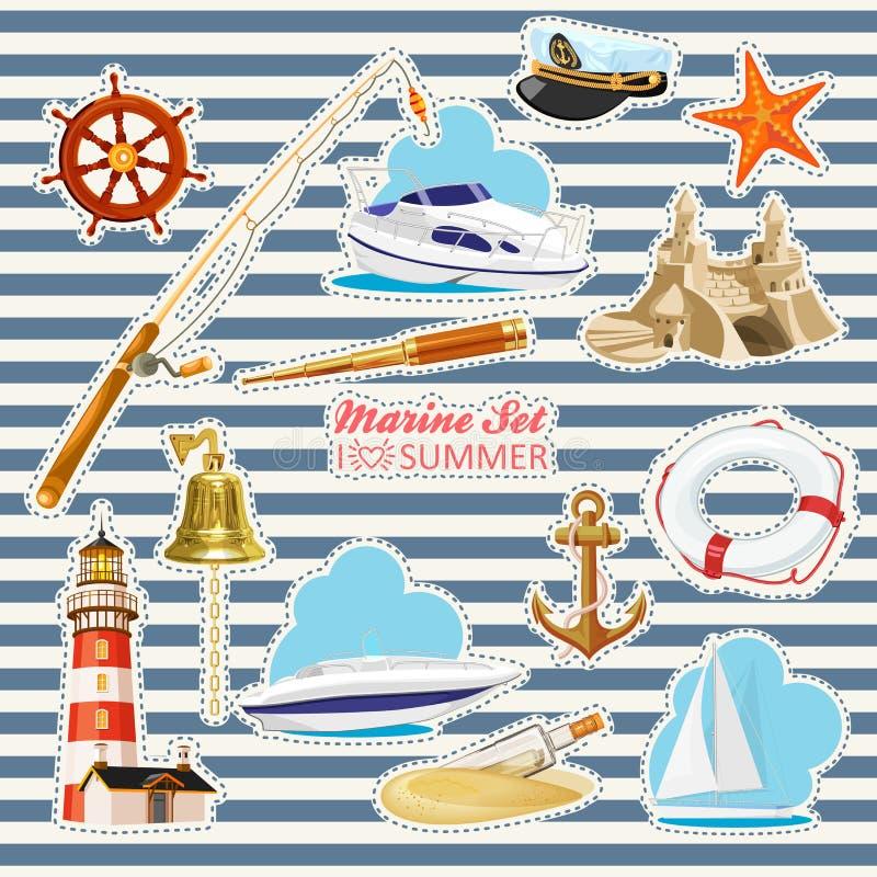 Download Set Nautyczni Lub Morscy Elementy Ilustracja Wektor - Ilustracja złożonej z nautyczny, antyk: 53777291