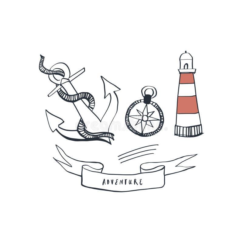 Set nautyczni morscy elementy z kotwicą, kompasem i latarnią morską, Żołnierz piechoty morskiej handsketched ikony wektor ilustracji