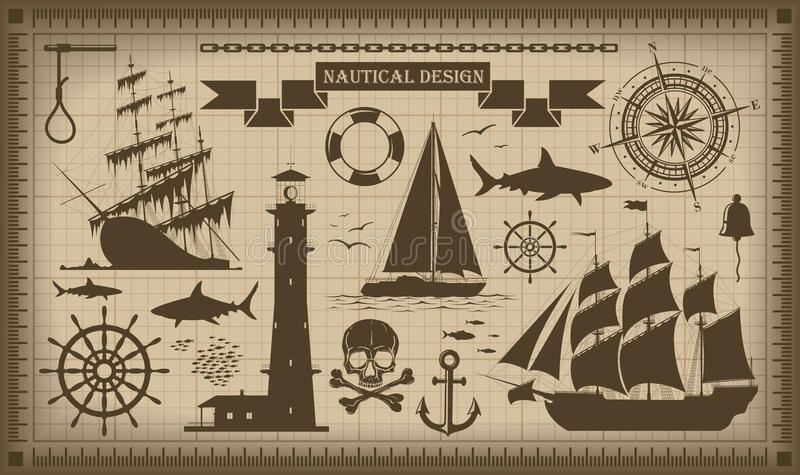 Set nautyczni projektów elementy, wektor EPS10 ilustracji