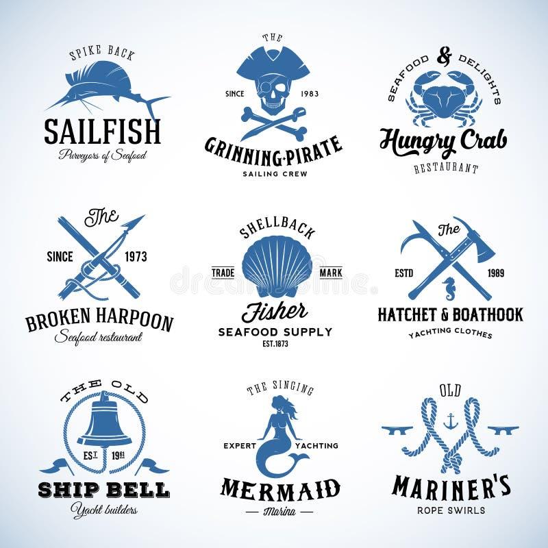 Set Nautyczny i żołnierza piechoty morskiej etykietka Wektorowy rocznik royalty ilustracja