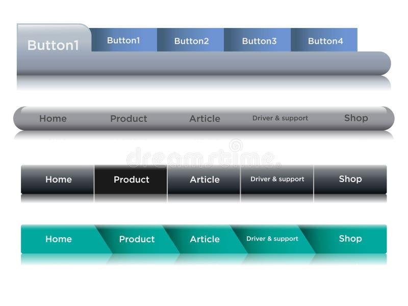 Set of navigation bar templates with black hover button. Web elements vector header on gray background. 3D shiny web button navigation bar design vector illustration