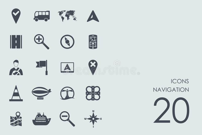 Set of navigation icons stock illustration
