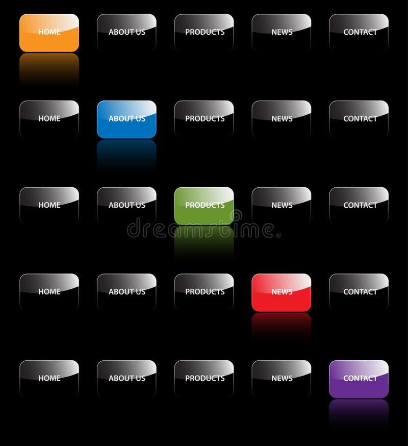 Website navigation tabs buttons design web site bar bars menu system vector template development icon icons map black elements stock illustration
