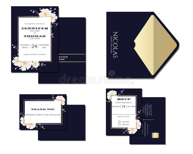 Set of Navy Blue Wedding Invitation Card Decoration with flowers and Gold line. royalty free illustration