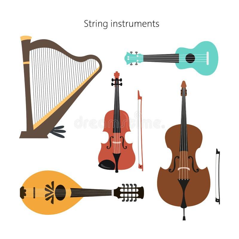 Set nawleczeni instrumenty na białym tle ilustracja wektor