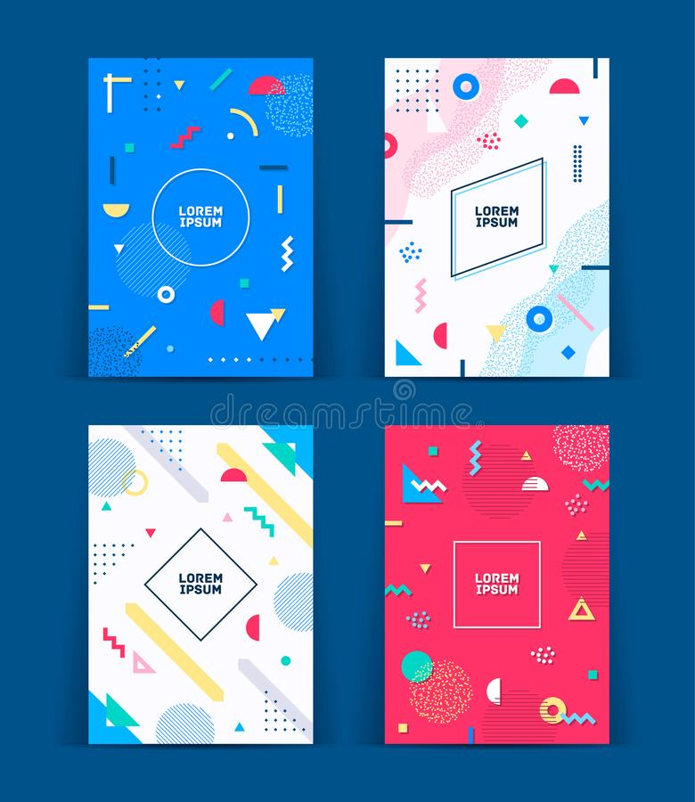 Set of neo memphis style covers. Collection of cool bright covers. Abstract shapes compositions. Vector. Set of neo memphis style covers. Collection of cool stock illustration