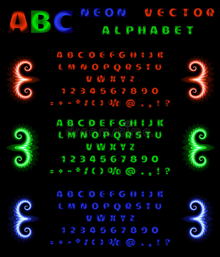Set of neon alphabet and numbers on a black background. Red, blue, green neon gradient. Vector illustration royalty free illustration