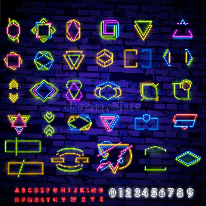 Set of neon colored frames. Vintage electric signboard with bright neon lights isolated on a black background. Square. Border vector illustration