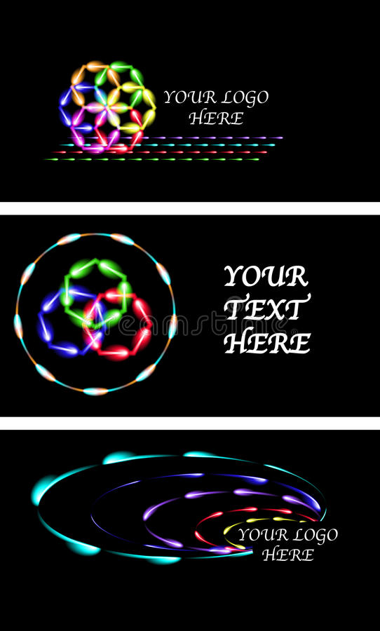 Set Of Neon Fen-fires Logos Or Business Cards, Black Background ...
