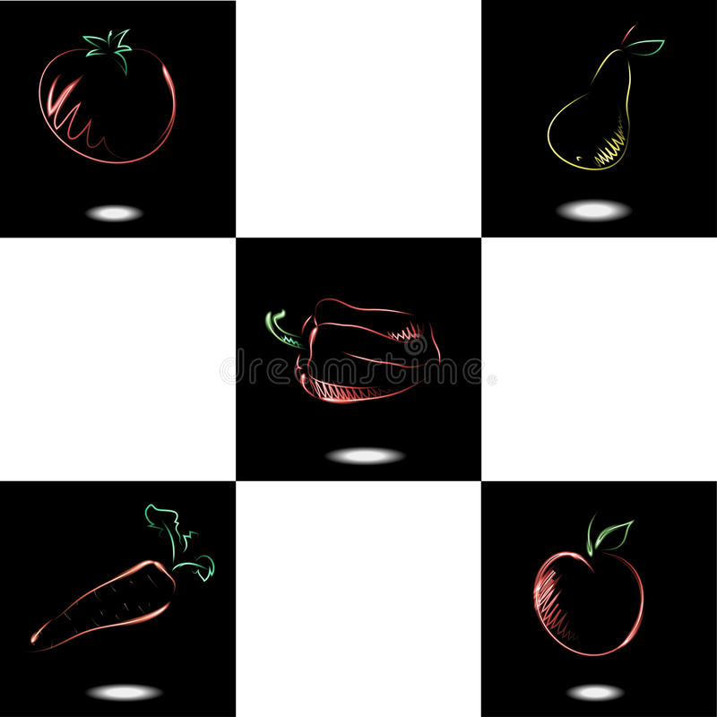 Download Set With Neon Fruit And Vegetables Stock Vector - Illustration: 32904360