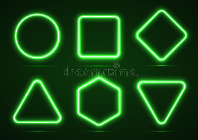 A set of neon geometric shapes. vector illustration
