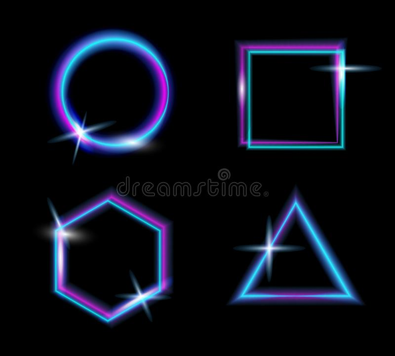 Set of neon glow light.Glow abstract background.Vector glitch effect.Modern frame.Abstract bright neon loop with transparency.Colo. Rful shine, flare.Advertising stock illustration
