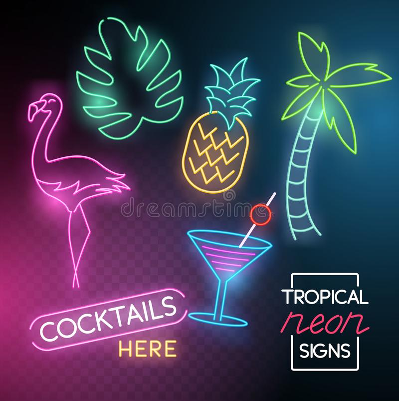 Tropical Neon Light Signs stock illustration